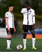 7 May 2021; Michael Duffy, left, and Wilfred Zahibo of Dundalk during the SSE Airtricity League Premier Division match between Dundalk and Sligo Rovers at Oriel Park in Dundalk, Louth. Photo by Ben McShane/Sportsfile