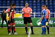 8 May 2021; Referee Ben Connolly, alongside team captains Jake Hyland of Drogheda United and Cian Browne of Waterford, during the coin-toss before the SSE Airtricity League Premier Division match between Waterford and Drogheda United at RSC in Waterford. Photo by Ben McShane/Sportsfile