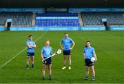 12 May 2021; Dublin players, from left, Dublin hurler Davy Keogh, Dublin camogie player Leah Butler, Dublin footballer Dean Rock and Dublin ladies footballer Lyndsey Davey at Parnell Park, in Dublin, to support the roll-out of 'AIG BoxClever' insurance for young drivers across Ireland. BoxClever is an innovative proposition that promotes and rewards safe driving that can help secure lower car insurance premiums. For a quote go to www.aig.ie/box. Photo by Stephen McCarthy/Sportsfile