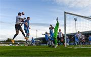14 May 2021; Sonni Nattestad of Dundalk has a header on goal despite the attention of Shane McEleney of Finn Harps during the SSE Airtricity League Premier Division match between Finn Harps and Dundalk at Finn Park in Ballybofey, Donegal. Photo by Stephen McCarthy/Sportsfile