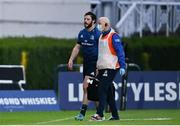 14 May 2021; Robbie Henshaw of Leinster leaves the pitch for a head injury assessment assisted by Leinster Team doctor Prof. Jim McShane during the Guinness PRO14 Rainbow Cup match between Leinster and Ulster at the RDS Arena in Dublin. Photo by Ramsey Cardy/Sportsfile