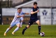 14 May 2021; Lee Desmond of St Patrick's Athletic in action against Chris Lyons of Drogheda United during the SSE Airtricity League Premier Division match between Drogheda United and St Patrick's Athletic at Head in the Game Park in Drogheda, Louth. Photo by Ben McShane/Sportsfile