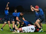 14 May 2021; Leinster players celebrate their side's third try scored by Robbie Henshaw during the Guinness PRO14 Rainbow Cup match between Leinster and Ulster at the RDS Arena in Dublin. Photo by Ramsey Cardy/Sportsfile