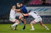14 May 2021; Robbie Henshaw of Leinster is tackled by Iain Henderson, left, and Nick Timoney of Ulster during the Guinness PRO14 Rainbow Cup match between Leinster and Ulster at the RDS Arena in Dublin. Photo by Ramsey Cardy/Sportsfile