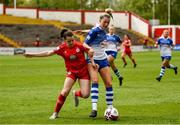 15 May 2021; Emily Whelan of Shelbourne in action against Shauna Fox of Galway Women during the SSE Airtricity Women's National League match between Shelbourne and Galway Women at Tolka Park in Dublin. Photo by Harry Murphy/Sportsfile