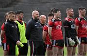 15 May 2021; Down manager Paddy Tally stands with his players for the playing of Amhrán na bhFiann before the Allianz Football League Division 2 North Round 1 match between Mayo and Down at Elverys MacHale Park in Castlebar, Mayo. Photo by Piaras Ó Mídheach/Sportsfile