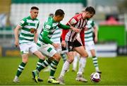15 May 2021; Will Patching of Derry City in action against Graham Burke of Shamrock Rovers during the SSE Airtricity League Premier Division match between Shamrock Rovers and Derry City at Tallaght Stadium in Dublin. Photo by Seb Daly/Sportsfile