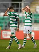 15 May 2021; Liam Scales, right, and Lee Grace of Shamrock Rovers following their side's drawn SSE Airtricity League Premier Division match against Derry City at Tallaght Stadium in Dublin. Photo by Seb Daly/Sportsfile