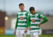 15 May 2021; Graham Burke, right, and Sean Gannon of Shamrock Rovers following their side's drawn SSE Airtricity League Premier Division match against Derry City at Tallaght Stadium in Dublin. Photo by Seb Daly/Sportsfile