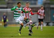 15 May 2021; Graham Burke of Shamrock Rovers in action against Ciaron Harkin of Derry City during the SSE Airtricity League Premier Division match between Shamrock Rovers and Derry City at Tallaght Stadium in Dublin. Photo by Seb Daly/Sportsfile