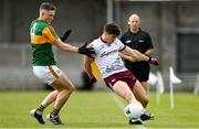 15 May 2021; Shane Walsh of Galway attempts to keep the ball in play despite the attentions of Jason Foley of Kerry during the Allianz Football League Division 1 South Round 1 match between Kerry and Galway at Austin Stack Park in Tralee, Kerry. Photo by Brendan Moran/Sportsfile