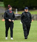 15 May 2021; Louth manager Mickey Harte, right, and selector Gavin Devlin prior to the Allianz Football League Division 4 North Round 1 match between Louth and Antrim at Geraldines Club in Haggardstown, Louth. Photo by Ramsey Cardy/Sportsfile