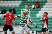 15 May 2021; Liam Scales and Rory Gaffney of Shamrock Rovers in action against Eoin Toal, left, and Ronan Boyce of Derry City during the SSE Airtricity League Premier Division match between Shamrock Rovers and Derry City at Tallaght Stadium in Dublin. Photo by Seb Daly/Sportsfile
