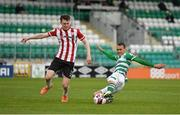 15 May 2021; Graham Burke of Shamrock Rovers in action against Cameron McJannet of Derry City during the SSE Airtricity League Premier Division match between Shamrock Rovers and Derry City at Tallaght Stadium in Dublin. Photo by Seb Daly/Sportsfile