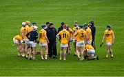 16 May 2021; Antrim manager Darren Gleeson speaks to his players before the Allianz Hurling League Division 1 Group B Round 2 match between Kilkenny and Antrim at UPMC Nowlan Park in Kilkenny. Photo by Brendan Moran/Sportsfile