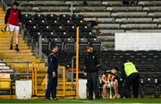 16 May 2021; Antrim manager Darren Gleeson, 2nd from left, and Kilkenny manager Brian Cody speak after the Allianz Hurling League Division 1 Group B Round 2 match between Kilkenny and Antrim at UPMC Nowlan Park in Kilkenny. Photo by Brendan Moran/Sportsfile