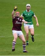 16 May 2021; Conor Whelan of Galway gathers possession ahead of Kyle Hayes of Limerick during the Allianz Hurling League Division 1 Group A Round 2 match between Galway and Limerick at Pearse Stadium in Galway. Photo by Piaras Ó Mídheach/Sportsfile