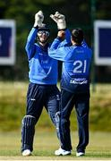 16 May 2021; Simi Singh of Leinster Lightning, right, celebrates with Lorcan Tucker after bowling out Luke Georgeson of Northern Knights during the Cricket Ireland Inter-Provincial Cup 2021 match between Northern Knights and Leinster Lightning at North Down Cricket Club in Comber, Down. Photo by Sam Barnes/Sportsfile