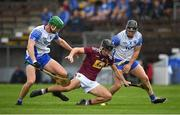 16 May 2021; Aonghus Clarke of Westmeath in action against Michael Kiely, left, and Mikey Kearney of Waterford during the Allianz Hurling League Division 1 Group A Round 2 match between Waterford and Westmeath at Walsh Park in Waterford. Photo by Seb Daly/Sportsfile