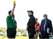 16 May 2021; Down manager Ronan Sheehan is shown a yellow card by referee Colum Cunning during the Allianz Hurling League Division 2A Round 2 match between Down and Carlow at McKenna Park in Ballycran, Down. Photo by Eóin Noonan/Sportsfile