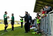 16 May 2021; Down manager Ronan Sheehan protests to referee Colum Cunning during the Allianz Hurling League Division 2A Round 2 match between Down and Carlow at McKenna Park in Ballycran, Down. Photo by Eóin Noonan/Sportsfile