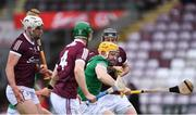 16 May 2021; Séamus Flanagan of Limerick in action against Galway players, from left, Gearóid McInerney, Jack Fitzpatrick, and Padraic Mannion during the Allianz Hurling League Division 1 Group A Round 2 match between Galway and Limerick at Pearse Stadium in Galway. Photo by Piaras Ó Mídheach/Sportsfile