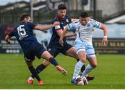 14 May 2021; Chris Lyons of Drogheda United and Billy King, 15, and Sam Bone of St Patrick's Athletic during the SSE Airtricity League Premier Division match between Drogheda United and St Patrick's Athletic at Head in the Game Park in Drogheda, Louth. Photo by Ben McShane/Sportsfile