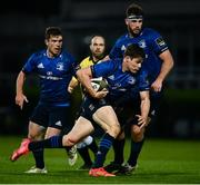 14 May 2021; Garry Ringrose of Leinster watched by team-mates Luke McGrath, left, and Caelan Doris during the Guinness PRO14 Rainbow Cup match between Leinster and Ulster at the RDS Arena in Dublin. Photo by David Fitzgerald/Sportsfile