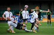 21 May 2021; Rory Gaffney of Shamrock Rovers has his shot blocked by Chris Shields of Dundalk during the SSE Airtricity League Premier Division match between Dundalk and Shamrock Rovers at Oriel Park in Dundalk, Louth. Photo by Stephen McCarthy/Sportsfile
