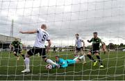 21 May 2021; Dundalk goalkeeper Alessio Abibi and defender Chris Shields defend the ball in the build up to Shamrock Rovers scoring their first goal during the SSE Airtricity League Premier Division match between Dundalk and Shamrock Rovers at Oriel Park in Dundalk, Louth. Photo by Stephen McCarthy/Sportsfile