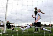 21 May 2021; Joey O'Brien of Shamrock Rovers, left, scores his side's first goal past Dundalk defender Chris Shields during the SSE Airtricity League Premier Division match between Dundalk and Shamrock Rovers at Oriel Park in Dundalk, Louth. Photo by Stephen McCarthy/Sportsfile