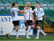 21 May 2021; Daniel Kelly, right, celebrates with Dundalk team-mates David McMillan, left, and Chris Shields after scoring their second goal during the SSE Airtricity League Premier Division match between Dundalk and Shamrock Rovers at Oriel Park in Dundalk, Louth. Photo by Stephen McCarthy/Sportsfile