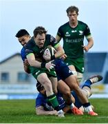 8 May 2021; Kieran Marmion of Connacht is tackled by Scott Fardy and Cian Kelleher of Leinster during the Guinness PRO14 Rainbow Cup match between Connacht and Leinster at The Sportsground in Galway. Photo by Brendan Moran/Sportsfile