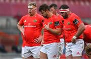 14 May 2021; The Munster front row, from left, John Ryan, Rhys Marshall and James Cronin during the Guinness PRO14 Rainbow Cup match between Munster and Connacht at Thomond Park in Limerick. Photo by Brendan Moran/Sportsfile