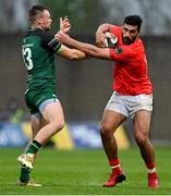 14 May 2021; Damian de Allende of Munster is tackled by Sean O'Brien of Connacht during the Guinness PRO14 Rainbow Cup match between Munster and Connacht at Thomond Park in Limerick. Photo by Brendan Moran/Sportsfile