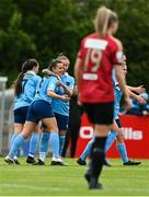 22 May 2021; Emily Whelan of Shelbourne, second from left, celebrates with team-mate Pearl Slattery, third from left, after scoring her side's first goal during the SSE Airtricity Women's National League match between Bohemians and Shelbourne at Oscar Traynor Coaching & Development Centre in Coolock, Dublin. Photo by Sam Barnes/Sportsfile