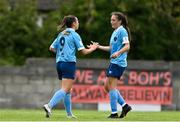 22 May 2021; Emily Whelan of Shelbourne, left, celebrates with team-mate Jessica Ziu after scoring her side's first goal during the SSE Airtricity Women's National League match between Bohemians and Shelbourne at Oscar Traynor Coaching & Development Centre in Coolock, Dublin. Photo by Sam Barnes/Sportsfile