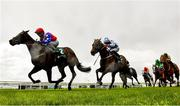 22 May 2021; Gustavus Weston, with Gary Carroll up, left, cross the line to win the Weatherbys Ireland Greenlands Stakes during day one of the Tattersalls Irish Guineas Festival at The Curragh Racecourse in Kildare. Photo by David Fitzgerald/Sportsfile