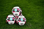 22 May 2021; Footballs featuring the DLR Waves Crest are seen before the SSE Airtricity Women's National League match between DLR Waves and Peamount United at UCD Bowl in Belfield, Dublin. Photo by Sam Barnes/Sportsfile