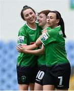22 May 2021; Eleanor Ryan-Doyle of Peamount United, centre, celebrates with team-mates Sabhdh Doyle, left, and Megan Smyth-Lynch after scoring her side's first goal during the SSE Airtricity Women's National League match between DLR Waves and Peamount United at UCD Bowl in Belfield, Dublin. Photo by Sam Barnes/Sportsfile