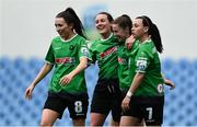 22 May 2021; Eleanor Ryan-Doyle of Peamount United, second from right,, celebrates with team-mates, from left, Sabhdh Doyle, Lucy McCartan and Megan Smyth-Lynch after scoring her side's first goal during the SSE Airtricity Women's National League match between DLR Waves and Peamount United at UCD Bowl in Belfield, Dublin. Photo by Sam Barnes/Sportsfile