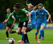 22 May 2021; Sabhdh Doyle of Peamount United in action against Niamh Barnes of DLR Waves during the SSE Airtricity Women's National League match between DLR Waves and Peamount United at UCD Bowl in Belfield, Dublin. Photo by Sam Barnes/Sportsfile
