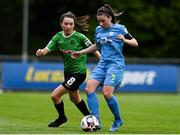22 May 2021; Rachel Doyle of DLR Waves in action against Sabhdh Doyle of Peamount United during the SSE Airtricity Women's National League match between DLR Waves and Peamount United at UCD Bowl in Belfield, Dublin. Photo by Sam Barnes/Sportsfile