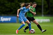 22 May 2021; Shauna Carroll of DLR Waves in action against Lauryn O'Callaghan of Peamount United during the SSE Airtricity Women's National League match between DLR Waves and Peamount United at UCD Bowl in Belfield, Dublin. Photo by Sam Barnes/Sportsfile