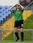 22 May 2021; Áine O'Gorman of Peamount United reacts to a missed chance during the SSE Airtricity Women's National League match between DLR Waves and Peamount United at UCD Bowl in Belfield, Dublin. Photo by Sam Barnes/Sportsfile