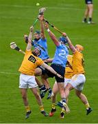 22 May 2021; Chris Crummey, left, and John Hetherton of Dublin contest a dropping sliotar with Antrim players, from left, Daniel McCloskey, Ryan McCambridge and Eoghan Campbell during the Allianz Hurling League Division 1 Round 3 match between Dublin and Antrim in Parnell Park in Dublin. Photo by Brendan Moran/Sportsfile