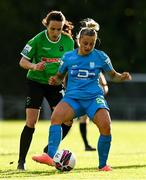 22 May 2021; Niamh Barnes of DLR Waves in action against Áine O'Gorman of Peamount United during the SSE Airtricity Women's National League match between DLR Waves and Peamount United at UCD Bowl in Belfield, Dublin. Photo by Sam Barnes/Sportsfile