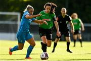 22 May 2021; Áine O'Gorman of Peamount United in action against Niamh Barnes of DLR Waves during the SSE Airtricity Women's National League match between DLR Waves and Peamount United at UCD Bowl in Belfield, Dublin. Photo by Sam Barnes/Sportsfile