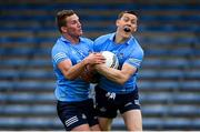 23 May 2021; Ciaran Kilkenny, left, and Con O'Callaghan of Dublin compete to catch the same ball during the Allianz Football League Division 1 South Round 2 match between Dublin and Kerry at Semple Stadium in Thurles, Tipperary. Photo by Stephen McCarthy/Sportsfile