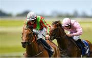 23 May 2021; Earlswood, left, with Ben Coen up, on their way to winning the Heider Family Stables Gallinule Stakes, from second place Arturo Toscanini, with Wayne Lordan up, during day two of the Tattersalls Irish Guineas Festival at The Curragh Racecourse in Kildare. Photo by Seb Daly/Sportsfile
